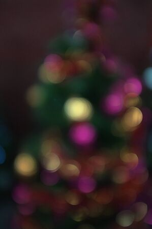 Blur light celebration on christmas tree with bokeh background Stock Photo