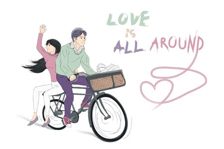 Couple riding together on a bicycle, love is all around . Romantic concept.