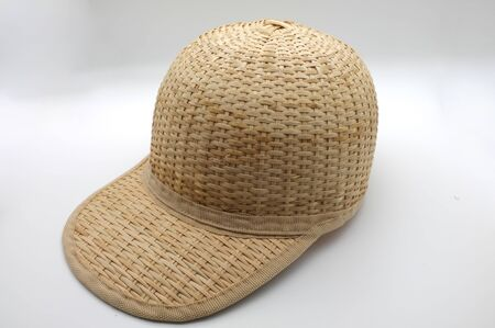 Straw hat , Bamboo hat or Bamboo cap on white background