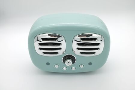 grungy retro green Speaker  on isolated white background