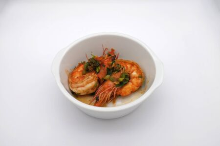 Fried shrimp with garlic  on white background Stockfoto