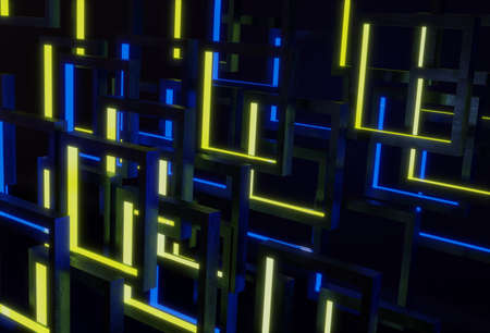 3d rendering , Technology with line pattern over dark blue and yellow background. Stockfoto