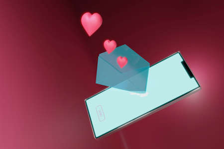 3d rendering , Valentine's Day - Sending love message concept. Stockfoto