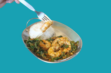 Stirred-fry shrimps or prawns with basil leaves, fried egg over rice on blue background . Thai food