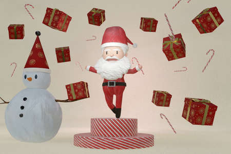 3D Rendering  , The dance of a cheerful Santa Claus and Snowman on brown ICE background . The Concept of Christmas. Stockfoto