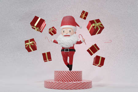 3D Rendering  , The dance of a cheerful Santa Claus on ICE background . The Concept of Christmas. Copy space. Place for text.