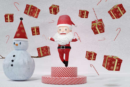 3D Rendering  , The dance of a cheerful Santa Claus and Snowman on ICE background . The Concept of Christmas. Stockfoto