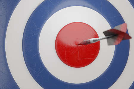 3d illustration. Darts hit blue  target background. . It's like a successful business.