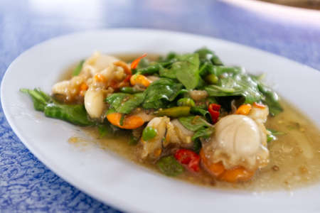Snapper topped with sauce , Thai seafood Stockfoto