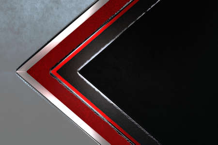 3d illustration. Abstract silver , red and black arrow direction on black blank space for text logo , Concept modern luxury futuristic background and brochure design