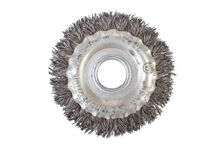 burnish: Wire brush disc isolated on white Stock Photo