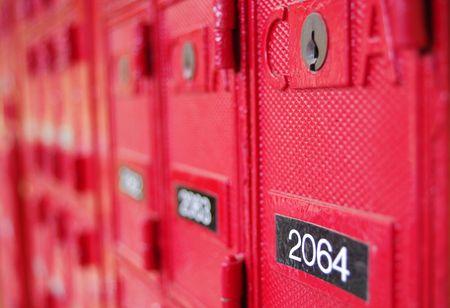 addressed: Red Post Office Box con i numeri Archivio Fotografico