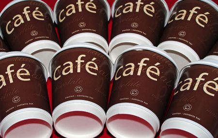 Brown Cafe Coffee cups in two rows Stock Photo