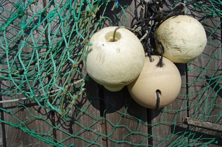 commercial fishing: Fishing floats and netting