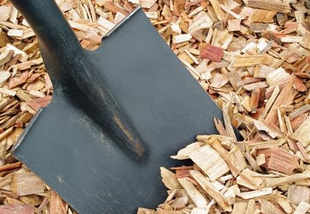 mulch: Mulch and shovel close up
