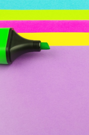 colour note paper and green marker