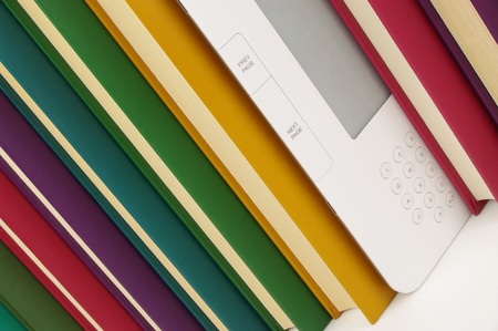 e book reader: e book and coloured paper books