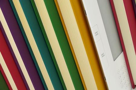 coloured books and e book close up Stock Photo - 10750810