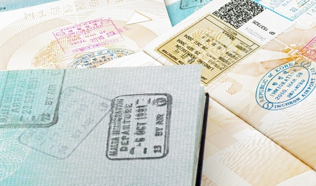 immigration stamps on passport photo
