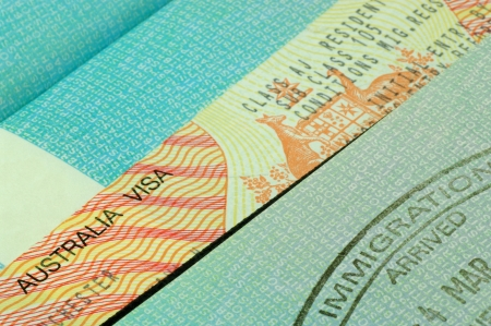 australian visa and immigration stamp photo