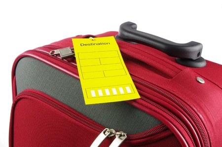 luggage tag: red travel bag and destination tag