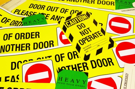 safety information labels Stock Photo