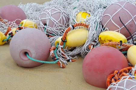 fishing net and fishing floats photo