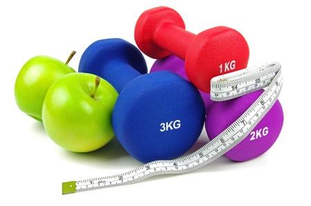 dumb bells: exercise dumb bells and apples