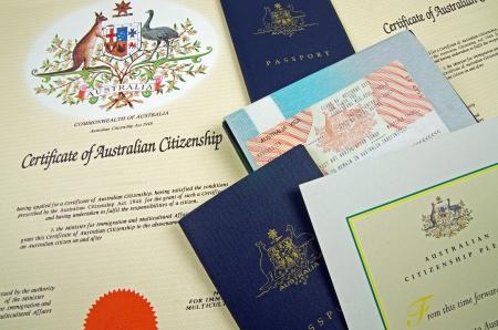 tarjeta visa: documentos de ciudadanía australiana Editorial