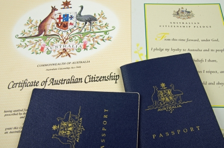 passport and citizenship certificate and pledge