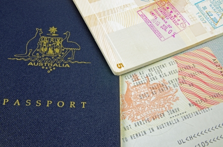 australia stamp: passport visa and immigration stamps Editorial