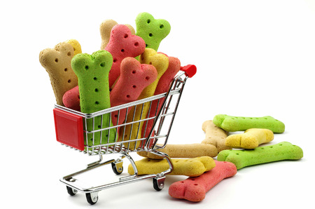dog biscuits and shopping trolley