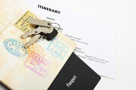 travel documents and car keys