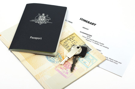 australian passport and travel itinerary   photo