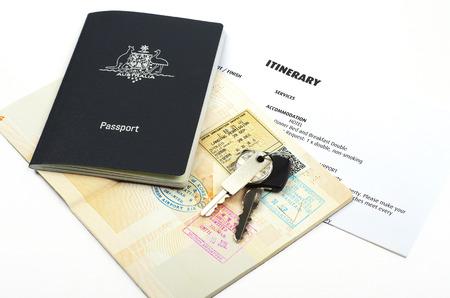 overseas visa: australian passport and travel itinerary