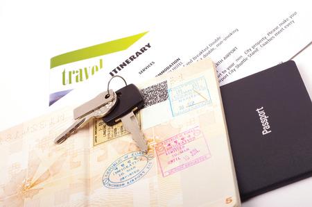 travel documents passport and car keys