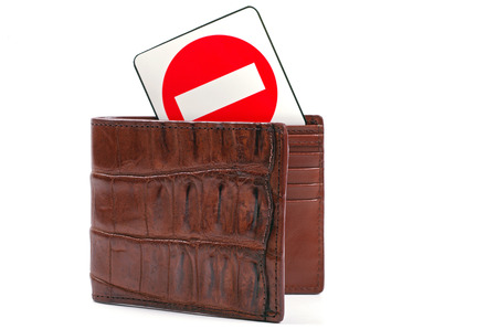crocodile wallet and stop sign photo