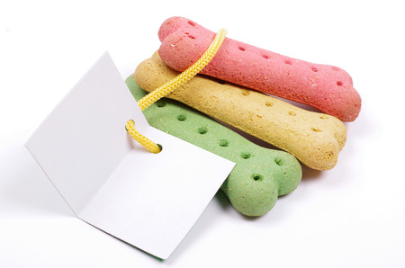 coloured dog biscuits and blank gift card photo