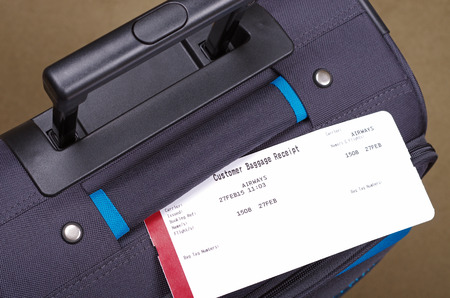 luggage tag: black suitcase and luggage tag