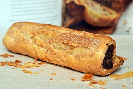 cooked sausage: sausage roll and cookbook