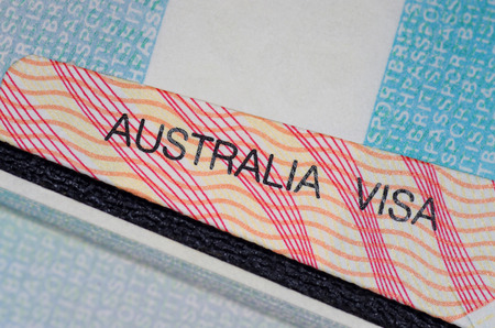 australian visa on british passport Stock Photo