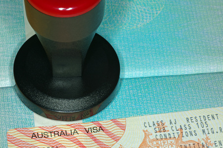 Visa australien et outil d'estampage Banque d'images - 46860256