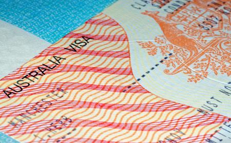 オーストラリアの出入国ビザ 写真素材