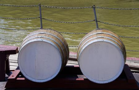 two wooden wine barrels