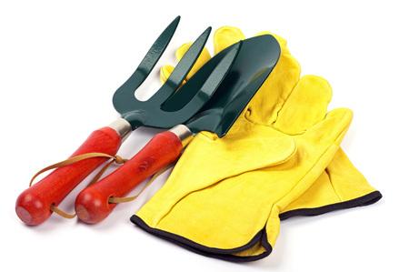 gardening trowel fork and gloves