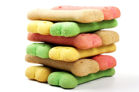 stacked colored dog biscuits