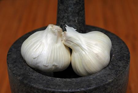 two garlic bulbs Stock Photo