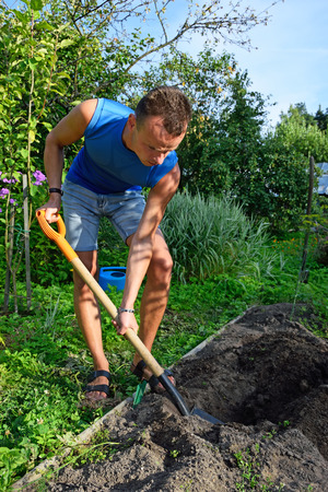 plot: A young man digging a flower bed on the plot on a Sunny day Stock Photo
