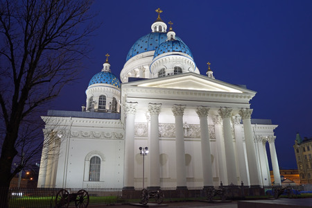and st petersburg: Trinity Cathedral with illumination at night in St. Petersburg Stock Photo