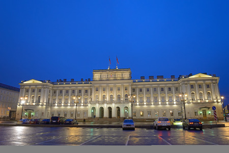 legislative: The Legislative Assembly building in St. Petersburg at night after rain
